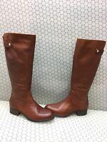 Steve Madden JOURNAL Cognac Leather Side Zip Knee High Boots Women's Size 9.5 M