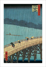 Hiroshige - Ohashi Bridge in the Rain - fine art print poster -various sizes