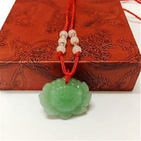 Natural Green Jade Lotus Pendant Necklace Fashion Lucky Charm New Jewellery Gift