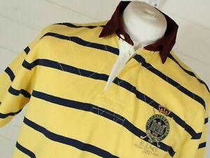 Vintage Polo Ralph Lauren Polo Shirt M Yellow Blue MCM 381 Casual Preppy LOHEAD