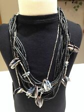 CHICO'S,GRAY, CLEAR, SILVER BEADED STRANDS NECKLACE~LG BEADS MIXED IN~SIGNED~EUC