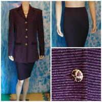 St John Knit Collection Purple Jacket Skirt L 10 12 2pc Suit Velvet Trim Buttons