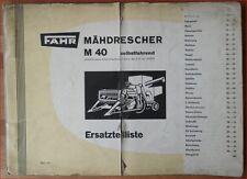 Fahr Mähdrescher M 40 Ersatzteilliste