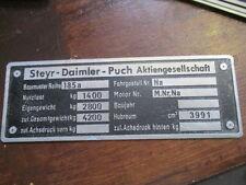 Placa IDENTIFICADORA Steyr Daimler PUCH AG PANEL ABOLLADURAS Tractor 185a 185A