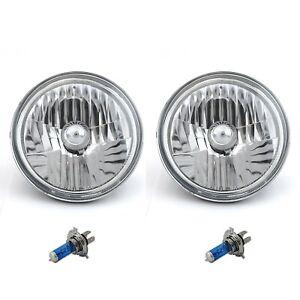 """7"""" Chevy Halogen Headlight Headlamp H4 Bulbs Crystal Clear Pair 60/55W 2nd Glass"""