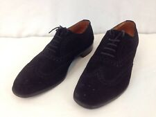 JM Weston Brogue France Mens 9.5 UK 9 EEE Black Suede Wingtip Oxford Dress Shoes