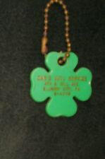 Vtg Plastic Green Irish Shamrock 4 Leaf Clover Orr's Auto Elwood City Key Chain