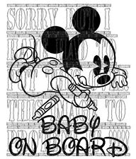 Vinyl Cool Cute disney mickey mouse baby on board  decal sticker cartoon safety!