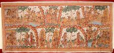 VERY LARGE OLD TRADITIONAL KAMASAN BALINESE RELIGIOUS PAINTING ON CLOTH
