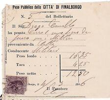 PESO PUBBLICO FINALBORGO FINALE LIGURE MARCA BOLLO 1 CENT 1906 MILITARI 3-231
