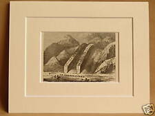 THE DEVIL'S SLIDE YELLOWSTONE USA ANTIQUE MOUNTED ENGRAVING FRM 1876 PUBLICATION