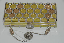 JUDITH LEIBER Honecomb Silver Minaudiere Bag Yellow Crystals Jeweled chain