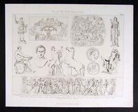 1874 Print  Roman Sculpture Relief - Constantine Cicero