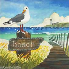 "Ceramic Accent Decor Tile Altman Seagull Bird Beach Art 8"" x 8"" Rwa020At"