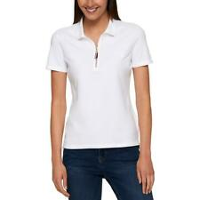 Tommy Hilfiger Womens White Semi Fitted Zip Up Polo Top Shirt M BHFO 5394