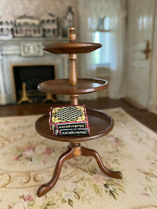 Vintage Miniature Dollhouse 1:12 Signed Artisan Wood 3 Tiered Table Stand Decor