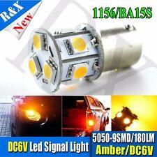 2X Amber/Yellow 9 SMD 5050 LED 1156 BA15S Car Turn Signal Light 7503 1141 DC6V