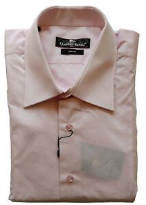 Men's Plain Shirt Pink Long Sleeve Double Cuff Slim Fit Size XXL Claudio Lugli