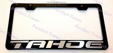 Chevy TAHOE LASER Style Black Stainless Steel License Plate Frame W/ Bolt Cap