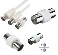4 X TV Aerial Lead Coupler Female And Male Socket Coax Connector Coaxial Adapter