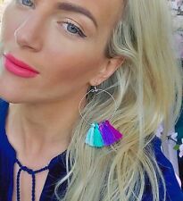 Bleu Violet & Vert Tassel Boucles d'oreilles Créoles Choochie Choo Bohème Boho Hippy Années 70
