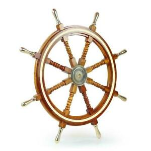 """Nautical Wooden Ship Wheel 36"""" Boat Steering Collectible Wall Decor"""