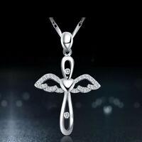 Collier pendentif en argent sterling 925 avec ailes d'ange et croix en zircone