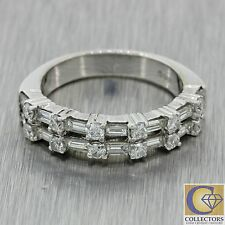 Vintage Estate 18k Solid White Gold .64ctw Round Baguette Diamond Band Ring