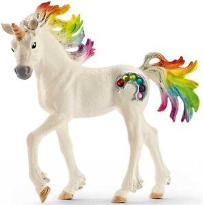 SCHLEICH Bayala Rainbow Unicorn Foal Horse Toy Figure Colourful Gemstones 70525