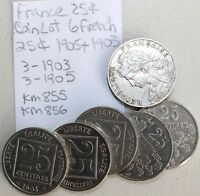 Lot of 6 France 25 Centimes Nickel Composition Quarters 1903 & 1905 Coins   K