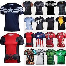Uomo Marvel Supereroe t-shirt maniche corte ciclismo sport palestra fitness top