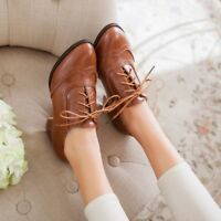 New Women  Lace Up Oxfords Retro Mid Chunky Heel Wing Tip Brogue Casual Shoes