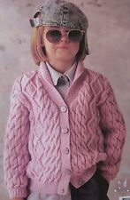 girls knitting pattern cardigan age 2 to 10 5 ply bluebell