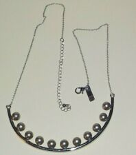 Marked INC Silver tone Grey Faux pearl necklace Chain