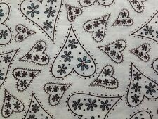 "Floral Hearts Cotton Fabric Black White Blue Pure by Moda 17"" by 43"" Remnant"