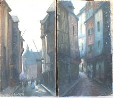 2 huile sur toile en pendant Honfleur par Jacques Leudet tableau peinture