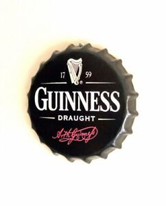 Guinness Draught Beer Wall Sign Tin Metal 30cm Bottle Top Bar Pub Man Cave