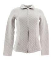 Isaac Mizrahi Live! Diamond Quilted Zip Front Knit Jacket, Grey, 1X