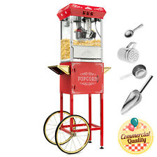 Open Box - Vintage Style Popcorn Popper Machine with Cart and 10-Ounce Kettle
