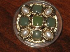 CHANEL 1 METAL CC LOGO FRONT GREEN GLASS PEARL BUTTON  26 MM /OVER 1'' NEW