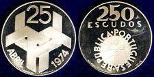 250 ESCUDOS 1974 ABRIL PORTOGALLO PORTUGAL ARGENTO SILVER # 1412