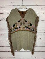 Elan Women's O/S One Size Fits All Boho Fringe Aztec Southwestern Sweater Poncho