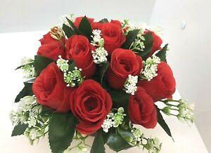 Artificial Silk Flower Arrangement Grave Garden Memorial  Pot 12 Red roses & Gyp