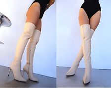 CQ COUTURE CUSTOM OVERKNEE BOOTS STIEFEL STIVALI FRONT ZIP LEATHER BEIGE NUDE 38