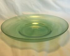 "Vtg 10.5"" Hand Blown / Crafted Iridescent Green Decorative / Serving Plate"