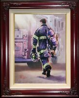 Thomas Kinkade Selfless Service 16x12 G/P Framed Limited 9/11 Tribute Canvas Oil