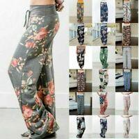 Women Floral Sports Yoga Lounge Sport Wide Leg Casual Loose Long Pants Trousers