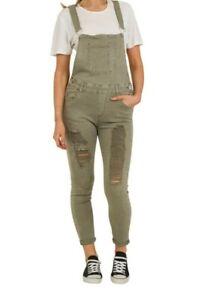 Green Distressed Denim Dungarees - Skinny Fit Ladies UK Size 6