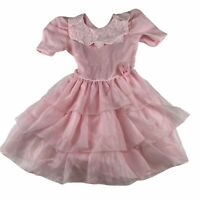 Vintage Merry Girl Party Dress USA ILGWU Union Pink Sheer Ruffle With Rosette 6x