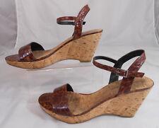 Bandolino Womens Heels 9.5 M Platform Slingback Wedge Heels Faux Leopard Brown